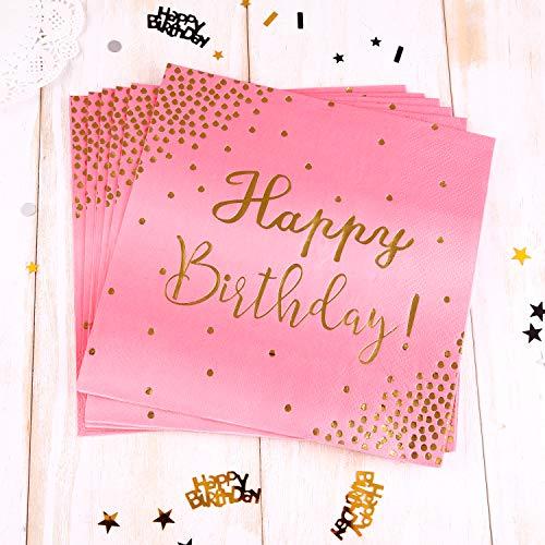 TUPARKA 20 Stück Happy Birthday Cocktail Servietten Pink Party Paper Servietten, 3-lagiges Papier / 16,5 x 16,5 cm