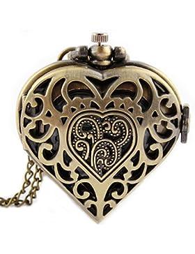 gorben in Herzform Hohl Quarz TaschenUhren Halskette Kette Anhänger + Gold Box