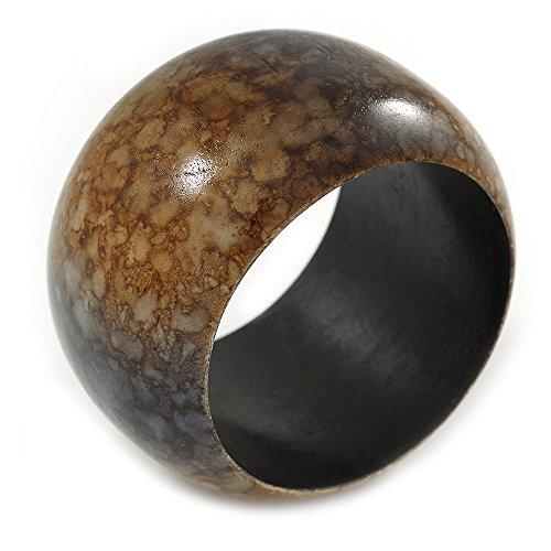 Unbekannt Avalaya Chunky mit braun/L Marmor-Effekt, Holz-Armreif Armband-bis zu 20cm, groß, Schwarz