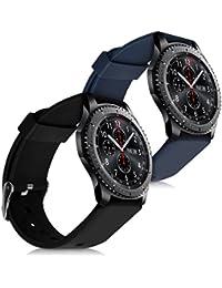 kwmobile 2en1: 2x Bracelet de remplacement pour le sport pour Samsung Gear S3 Classic / Frontier en noir bleu foncé Dimensions intérieures: env. 15 - 22 cm - Bracelet en silicone avec fermoir de montre sans tracker