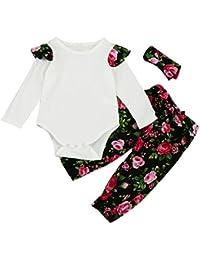 Sunenjoy 3 Pcs Enfant Infantile Bébé Filles Long Manchon Floral Vêtements  Ensemble Tops + Pantalon + 063491e7be8