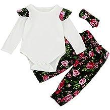 3Pcs Conjunto de Bebé Niña, Covermason Mangas Largas Camiseta y Floral Impresión Pantalones y Diademas