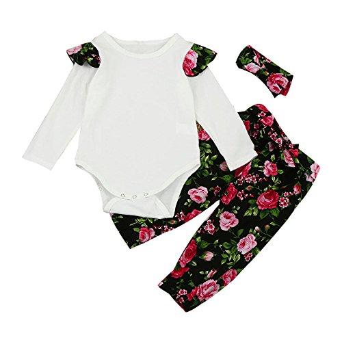 0794e49dc36d4 Sunenjoy 3 Pcs enfant Infantile Bébé Filles Long Manchon Floral Vêtements  Ensemble Tops + Pantalon +