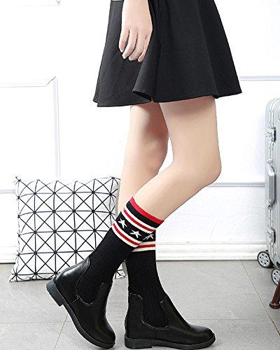 Femmes Bottes Hautes Longue Au Dessus Du Genou Élégant Couture Chaussettes En Tricot Élastique Chaussures Plates Mode Boots Noir / 31 CM