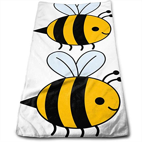 Kotdeqay Bumble Bee Multipurpose Soft Highly Absorbent Cotton Hand Towels Quick Dry for Daily Use 30cm X 70cm