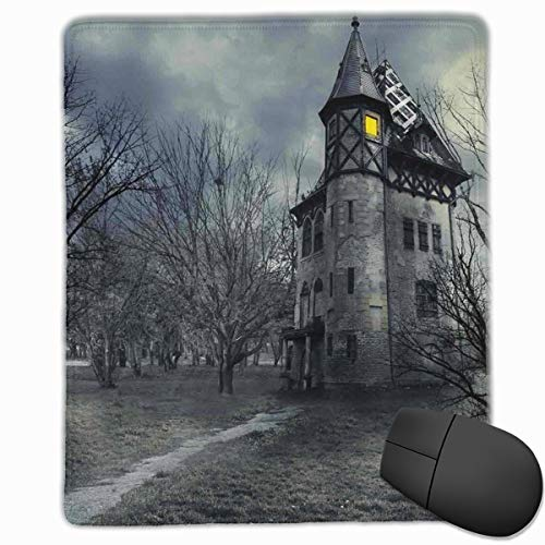 Mouse Mat Stitched Edges, Halloween Design With Gothic Haunted House Dark Sky And Leafless Trees Spooky Theme,Gaming Mouse Pad Non-Slip Rubber Base