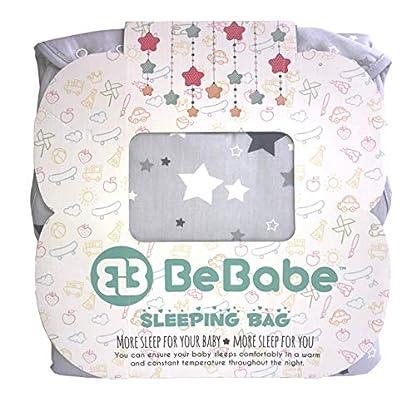 Saco de dormir para bebé Be Babe – 2,5 tog, 100% algodón saco de dormir para niño o niña, cremallera YKK bidireccional, tamaños de recién nacido a 36 meses, manta Swaddle Wrap alternativa para cunas, cunas y viajes – Gris Star