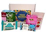 SnackBaron Premium Vegane Snack-Box: 6 Snacks mit Riegel, Chips, Energie Balls, Nüssen - Vegane Geschenk Box- für unterwegs, in der Schule, beim Sport oder im Büro.