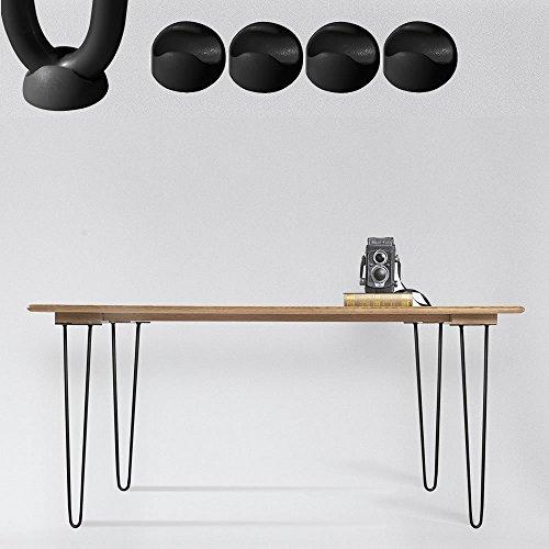Melko 4 Stück Hairpin Legs, schlanke Tischbeine aus Stahl, 60cm hoch, Vintage und Industrial Look,...