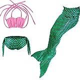 Das Beste Mädchen Meerjungfrau Bikini Kostüm Schwimmanzug Badeanzüge Tankini Muschelbikini Bademode Badeanzüge Meerjungfrauenschwanz Schwimmen Baden, 120, Farbe: Rosa+Grün