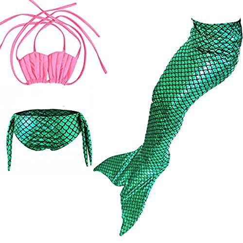 Das Beste Mädchen Meerjungfrau Bikini Kostüm Schwimmanzug Badeanzüge Tankini Muschelbikini Bademode Badeanzüge Meerjungfrauenschwanz Schwimmen Baden, 120, Farbe: (Grün Und Sports Perücke Blau)