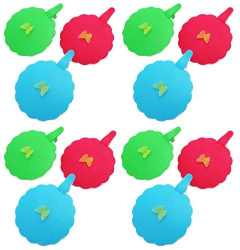 Schutzdeckel für Gläser Klappdeckel für Getränke Insektenschutz 3-farbig sortiert 12 Stück