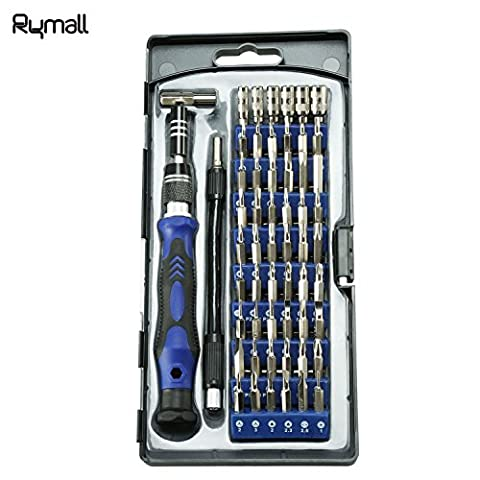 Rymall 58 in 1 Kit de tournevis magnétique, 54 kit de pilote magnétique et 1 kit d'accessoires de tournevis, pour téléphone portable, tablette, PC, MacBook, trousse d'outils de réparation électronique