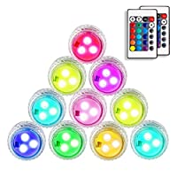 ANGTUO Hot Tub Lights, 10 Pcs LED Submersible Lights with Remote Control Powered 2 X CR2450 Batteries (Included) Color Changing Underwater Light for Vase Base, Hot Tub, Fish Tank, Pond, Pool, Garden