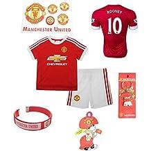 iSport Gifts® Manchester United Home Rooney # 10enfants Soccer Jersey et short Soccer Fans de foot 6en 1Kit cadeau Youth Tailles YS/YM/yl (Jeunesse Petit 6–8ans, Rooney # 10)