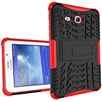 Galaxy Tab 3 Lite 7'' Funda,Samsung Tab3 Lite 7.0 Protección,XITODA Armor Style Hybrid PC + TPU silicone Funda con stand Protección para Samsung Galaxy Tab 3 Lite 7.0 pulgadas SM-T110/T111/T113/T116 Cover Case Carcasa - Rojo