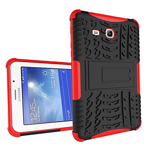 XITODA Samsung Galaxy Tab 3 Lite 7.0 Hülle, Hybrid PC + TPU Silikon Hülle Mit Stand Schutzhülle für Galaxy Tab 3 Lite 7.0 SM-T110/T111/T113/T116 Case Cover Tasche(Nicht für Galaxy Tab 3 7.0) - Rot