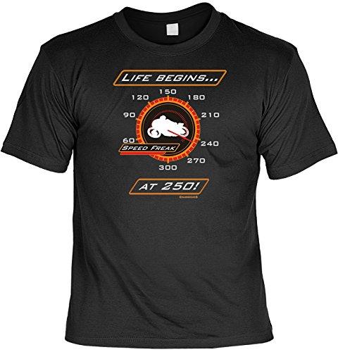 Biker T-Shirt Live begins at 250 Shirt 4 Heroes Geburtstag Geschenk geil bedruckt mit Biker-Urkunde Schwarz