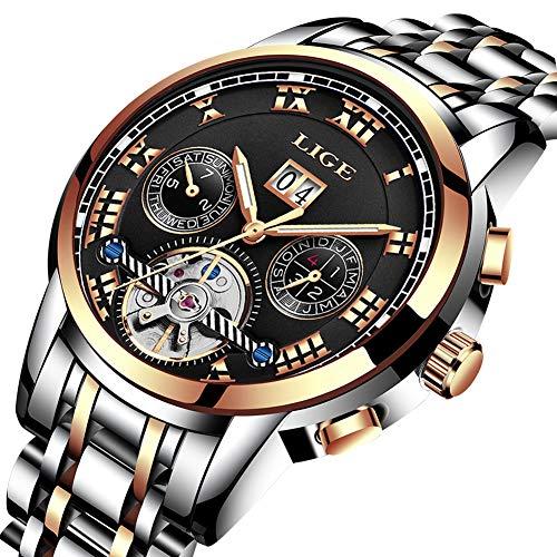 LIGE Herren Analog Mechanische Wasserdichte Edelstahl Uhr mit Elegante Business Kleid Armbanduhren Gold Schwarz