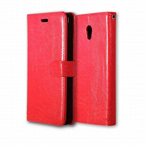 Custodia Lenovo Vibe P1 Cover Case, Ougger Portafoglio PU Pelle Magnetico Stand Morbido Silicone Flip Bumper Protettivo Gomma Shell Borsa Custodie con Slot per Schede Colore Nero Rosso