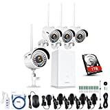 ANNKE Kit de seguridad wifi 4CH 1080P NVR con 1TB disco duro y 4 Cámaras 960P CCTV IP66 Interior/Exterior Visión nocturna y Detección de movimiento