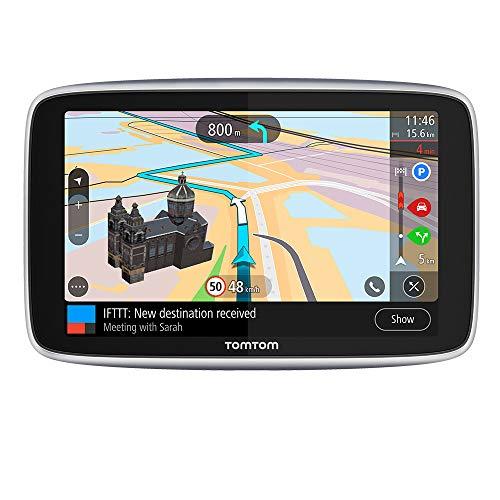 Oferta de TomTom GPS para coche GO Premium, 6 pulgadas con tráfico y alerta de radares gracias a TomTom Traffic, mapas del mundo, actualizaciones a través de WiFi, llamadas con manos libres, soporte Click-Drive
