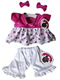 Candy Velvet Top Dress & Bows Teddy Bear Clothes fit 15in Build a Bear