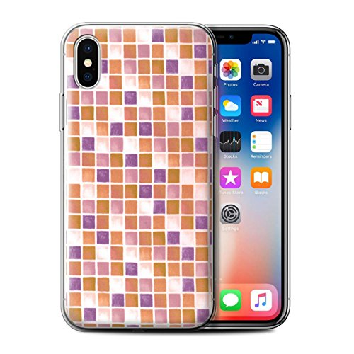 Stuff4 Gel TPU Hülle / Case für Apple iPhone X/10 / Blau/Türkis Muster / Bad Fliesen Kollektion Lila/Orange