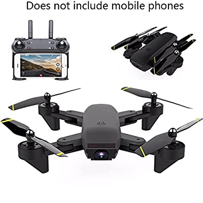 YMXLJJ RC Drone And Camera WIFI FPV Quadcopter With 200W HD Dual Camera Live Video 2.4Ghz 4 CH 6-Axis Gyroscope Collapsible Optical Flow Positioning, Gesture Photo Black from YMXLJJ