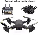 YMXLJJ RC Drone Y Cámara WiFi FPV Quadcopter con 200W HD Cámara Dual Live Video 2.4Ghz 4 CH 6 Ejes Giroscopio Posicionamiento De Flujo Óptico Plegable, Gesto Foto Negro