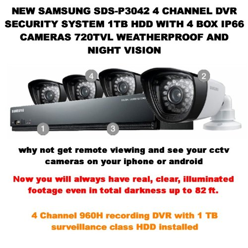 SS300 - SAMSUNG SDS-P3042 4 CHANNEL DVR SECURITY SYSTEM 1TB HDD WITH 4 BOX IP66 CAMERAS 720TVL WEATHERPROOF AND NIGHT VISION by Samsung Samsung Dvr