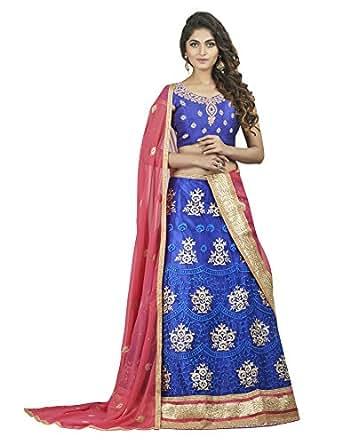 Oomph! Women's Net Bridal Lehenga Choli/Semi Stitched Lehenga Party Wear/Ghagra Choli Weddings, Blue