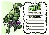 Geburtstagseinladungen, Motiv: Superheld Hulk,hochformatiges Streifen-Design,Partyzubehör, 12Stück A5-Einladungen