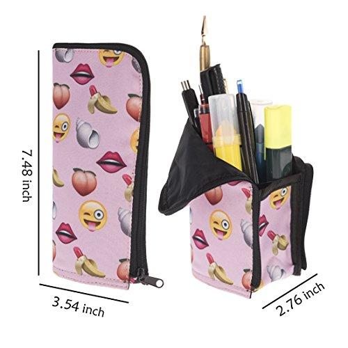 Preisvergleich Produktbild Rosa Funny Emoji-Vertikal Pen Bleistift Case Kosmetiktasche Münzfach Tasche Bürstenhalter, Organizer