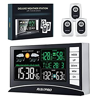 RISEPRO Wireless Weather Station Digital Weather Station With 3 Sensors In/Out Temperature and Humidity Clock Dual Alarm Function and the Weather Forecast With Large Color LED Display For UK