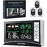 Estación meteorológica, RISEPRO Estación meteorológica inalámbrica con 3 sensores IN / OUT Temperatura y humedad Reloj despertador Calendario Previsión meteorológica con pantalla LED en color RP-WS2003