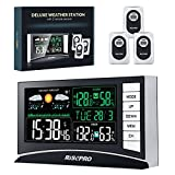 RISEPRO Weather Station, Wireless Weather Station with 3 Sensors in/Out Temperature and Humidity