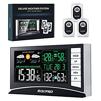 RISEPRO estación meteorológica inalámbrica con 3 sensores de Temperatura de Entrada/Salida y Humedad Reloj Despertador Calendario Meteorológico con Pantalla a Color para Europa