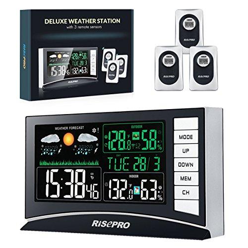RISEPRO estación meteorológica inalámbrica con 3 sensores de Temperatura de Entrada/Salida y Humedad...