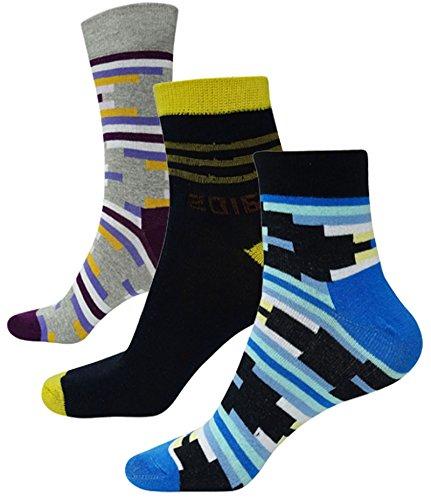 3 Paar Mehrfarben BaumwolleLycra Mitte Kalb & Knöchel-Längen-Männer Sport Socken Größe 9-12 (Länge Mitte Kalb Socken)