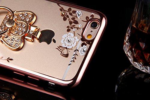 iPhone 6S Plus Hülle,iPhone 6 Plus Hülle,ikasus® TPU Silikon Hülle Schutz Handy Hülle Case Tasche Etui Bumper Crystal Case Hülle für Apple iPhone 6S / 6 Plus (5,5 Zoll) [Phone Ständer Holder] Durchsic Rose Gold Weiße Blumen mit Strass Krone Ständer