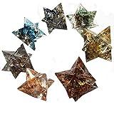 Conjunto de 7 Estrellas Merkaba en Orgonita con piedras semipreciosas en los colores de los 7 chakras, para reiki, desbloqueo de energías y protección contra contra campos electromagneticos