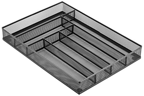 "Halter Steel Mesh Large Cutlery Tray with Foam Feet - Kitchen Organization / Silverware Storage - 16"" X 11.25"" X 2"" - 2 Pack"