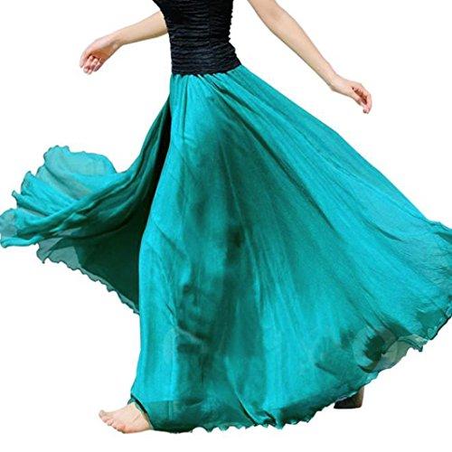 legant Frauen Elastisches Taillen Chiffon Langes Maxi Strand Kleid Vintage Retro Reifrock A-Linie Einfarbig Chiffon Lange Rock (Grün, Freie Größe) (Plus Größe Hippie Kleider)