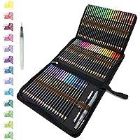 72 Crayons De Couleurs aquarellable dans une trousse à crayons personnalisée, Crayons Aquarelle Pour Dessin D'art adultes et professionnels, Idéal Pour Les Artistes Débutants Et Professionnels