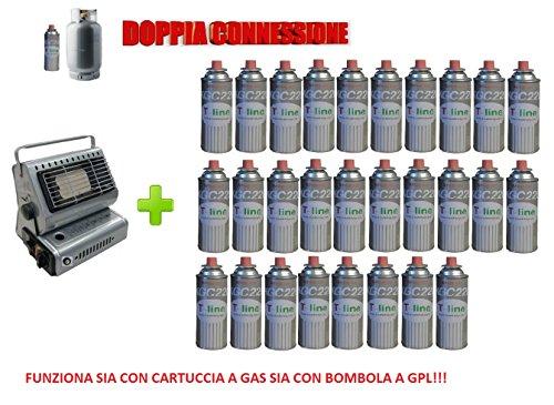 Radiateur Chauffage à gaz portable double connexion soit cartouches à gaz soit bouteilles + 28 Cartouche hommage