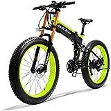 Bici Elettrica Mens Mountain-Bike per Adulti E Batteria al Litio Lega di Alluminio E-Bicicletta 21 velocità Freni A Disco 26In Fat Tire Bicicletta della Strada Neve con Display A LED,350W36V10AH