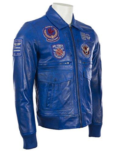 Mens Ultra-stilvolle 100% echte super weiche Leder Bomber Jacke mit Luftfahrt-Abzeichen von MDK Blau