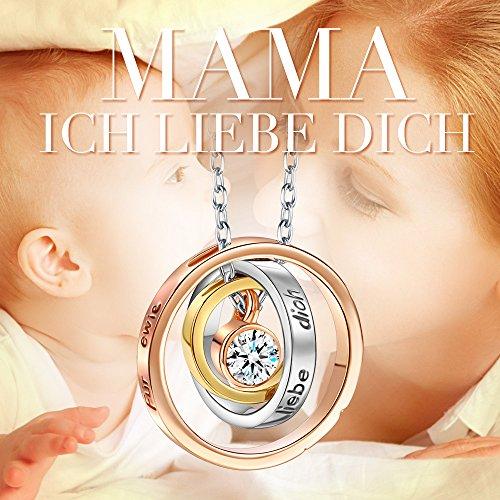 Kami Idea Kette Damen Mama Ich Liebe Dich Gravierte Kreis Halskette mit Anhänger Rosegold Plattiert mit Kristall von Swarovski Geschenke zum Geburtstag Jubiläum Mutter Frauen Sie