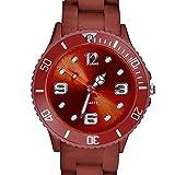Taffstyle Farbige Sportuhr Armbanduhr Silikon Sport Watch Damen Herren Kinder Analog Quarz Uhr 34mm Braun